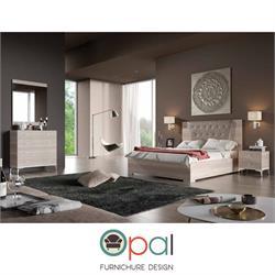 חדר שינה זוגי קומפלט עם גב מיטה מרופד דגם מרקש