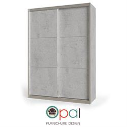 ארון הזזה 2 דלתות עם מסגרות אלומיניום מסדרת צבעי הבטוןדגםבטון
