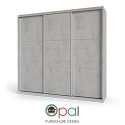ארון הזזה3 דלתותדגםבטון עם מסגרת אלומיניום ופסי ניקל בדלתות מסדרת צבעי הבטון החדשים