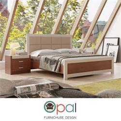 מיטה זוגית עם גב מיטה מרופד דגםנפולי