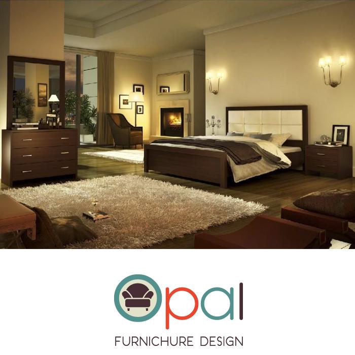 חדר שינה זוגי קומפלט מעוצב עם גב מרופד