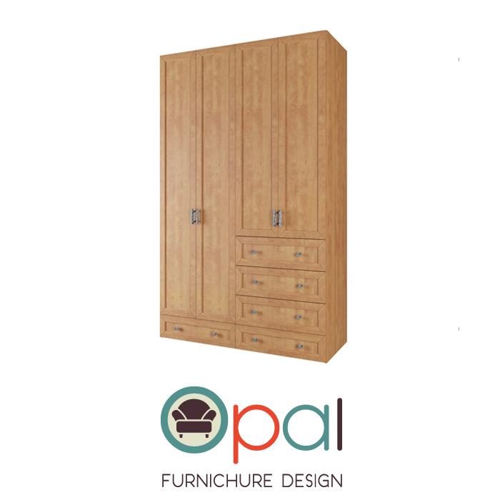 ארון בגדים 4 דלתות ו 5 מגירות דגם קשת במגוון צבעים