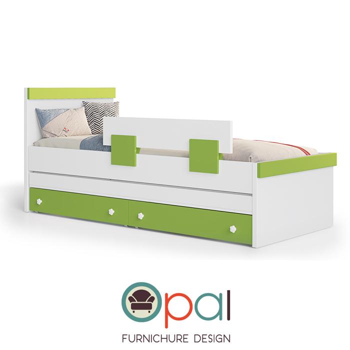 מיטת ילדים מעץ מלא בשילוב MDF + זוג מזרנים + מגן מיטה
